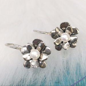 """Silpada """"Love Bloom"""" Pearl Flower Earrings W1768"""